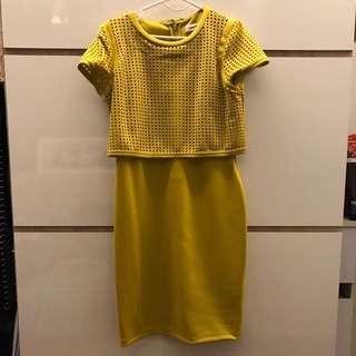 Calvin Klein yellow work dress