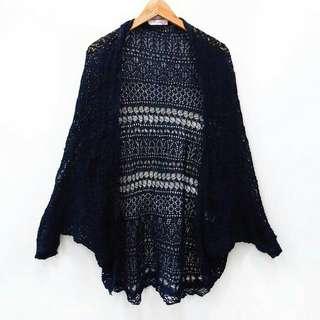B11 Outer Long Cardigan Blue Black Rajut Knit Tipis Outerwear Outwear Luaran