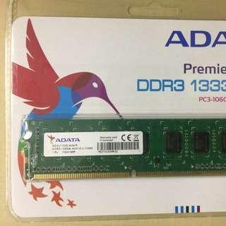 全新未開封 枱機用 ADATA DDR3 1333 4G RAM