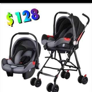 Baby infant car seat + pram frame