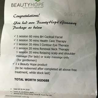 PRICE Reduced - beauty Hope Vouchers