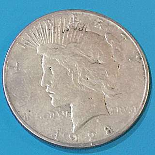 USA Peace Silver Coin One Dollar Year 1928