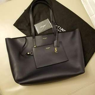 YSL Saint Laurent Leather Tote Bag (Navy Color)