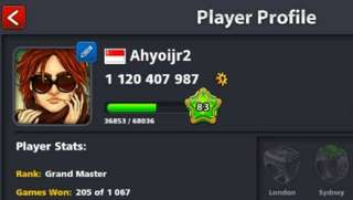 Coins 8ball pool 1b $50