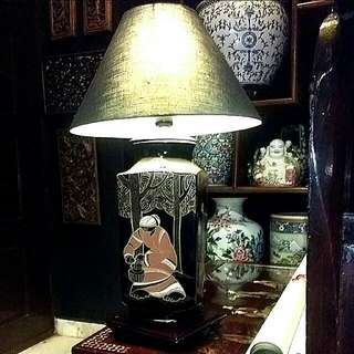 Vintage Porcelain  Lamp With Handpainted  Art