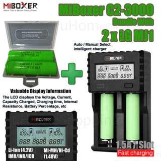 MiBoxer C2-3000 1.5A Per Slot Fast Smart Charger With UK Plug Bundle With 2 x LG MJ1 Batteries
