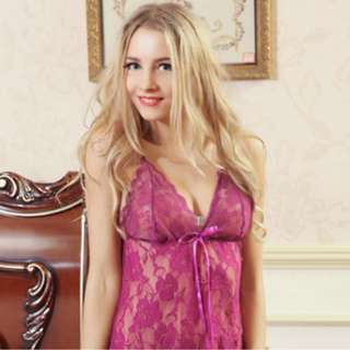 Violet Calista, Purple Satin Nightdress + Purple G-String, Lingerie