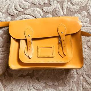 "THE CAMBRIDGE SATCHEL CO. HAND BAG - THE CLASSIC 14"" CANARY YELLOW LEATHER BAG"