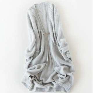"""🚚 """"未穿過超質感""""~32%安哥拉羊毛+28%羊毛针織衫中長款寬鬆感外套灰色"""