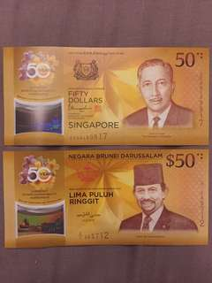 CIA 50 Singapore Brunei Commemorative Notes ($50 pair)