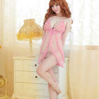 Pink Candy of Nezia Sexy Nightdress Lingerie + Gstring