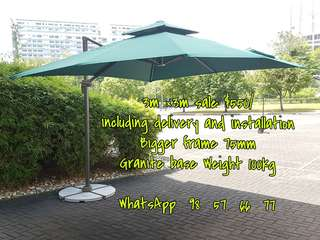 Brand  new outdoor patio parasol 3m ×3m double top umbrella