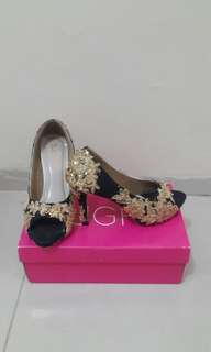 Wedding Shoes Black - Gold