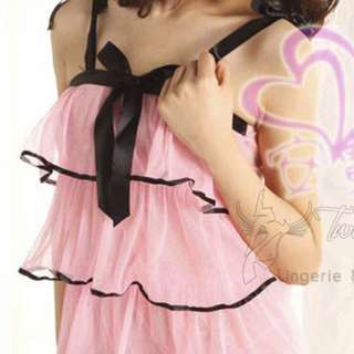 Sweet Candy of Keira Lingerie Sexy Nightdress, Black Laces +G-string