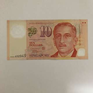 Portrait $10 Singapore Banknote (Signed by LHL, circulated)