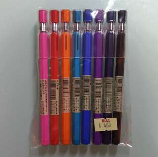 無印良品0.25六角原子筆(8色)