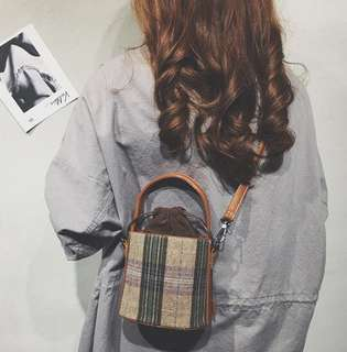 Checkered Drawstring Bucket Bag
