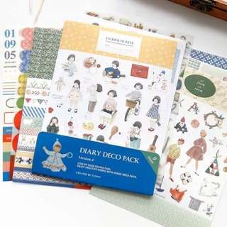 Iconic diary deco pack ver 4, 9 sheets, bujo stickers