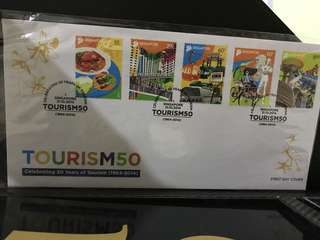 Tourism 50 first day cover, stamp