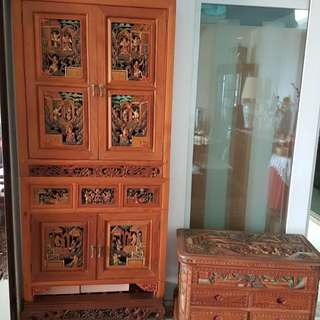Rare! Handmade Wood Carving Display Cabinet and Chest Set