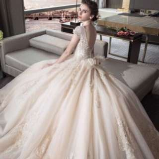 Mingshansha Womens European- and American-style Champagne Wedding Dress with Train (Champagne color Qi)