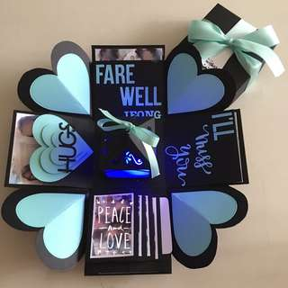 Farewell explosion box with lighthouse, 4 waterfall in black & Tiffany