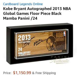 Kobe Bryant Autographed 2013 NBA Global Games Floor Piece Black Mamba Panini /24