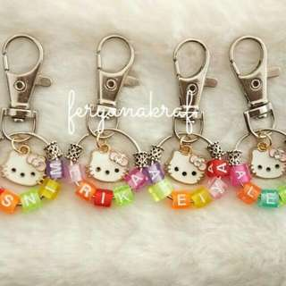 Keychain Name With Hello Kitty Charm
