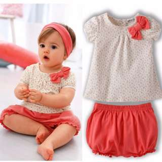 Last set - 2 Pcs Baby Girls Cherry Clothes Set