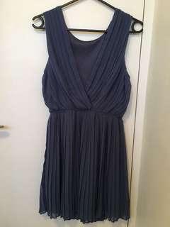 Blue Greek style pleated chiffon dress Small