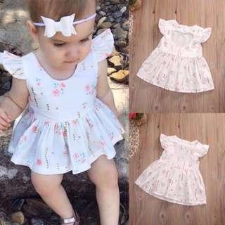 Last Set - Cute Floral Baby Girl Heart shape Dress