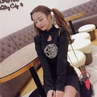 Black Long Sleeve Qipao Dress