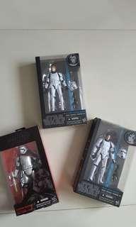 "Star Wars The Black Series 6"" figure set - Captain Phasma, Han Solo, Luke Skywalker"