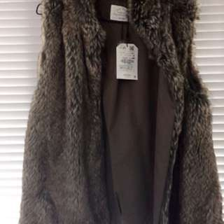 Zara fur sleeveless coat