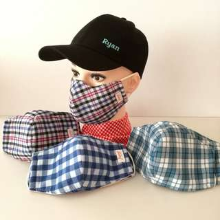 3 Layer Anti Dust Fabric Face Mask - Checkered #1