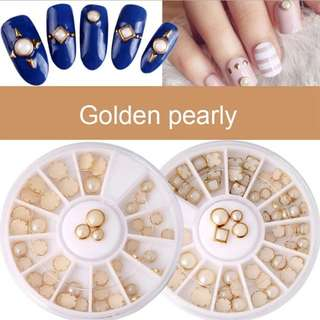 1 Box Beads Nail Art Decorations Metal Edge Glitter 3D Nails Tip Pearl Beads Wheel Charms DIY Manicure @ME88