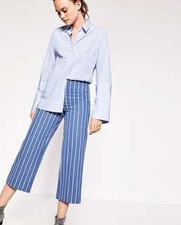 Zara Navy White Stripped crop trousers