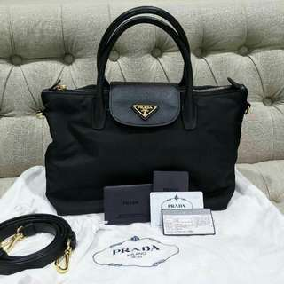 Prada BN2106 Tessuto Nylon Convertible Tote Bag -Black