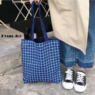 Hyun-Joo Reversible Check Canvas Tote Bag