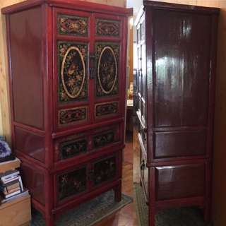 MANDARIN ORIENTAL LARGE CABINET RED LACQUER LARGE -Free Delivery!