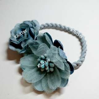 Klutter $5 - Blue Hair Tie Elastic Bands Head Accessories Girls Ladies