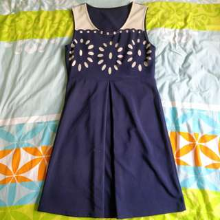 flower dark blue dress (: