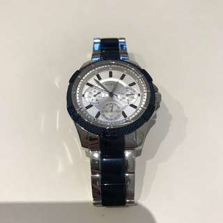 GUESS Womens Blue and Silver Watch 50m water resistant