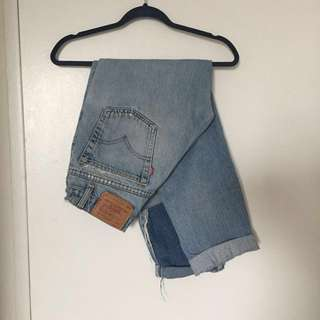 Light wash high waisted distressed two tone Levis