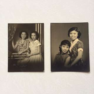 Vintage Old Photo - Old Set of 2 black & white Photographs taken in a Studio (each $5 or both for $8)