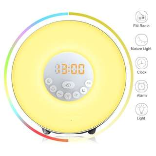 29.Wake Up Light Alarm Clock - Sunrise Simulator With 7 Color Light, Nature Sounds or FM Radio lAlarm - Touch Control - Include USB Charger - For Heavy Sleepers & Kids