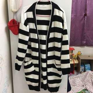 🚚 韓 針織棉中長版條紋外套