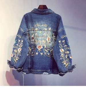 <New> Plus Size Embroidery Denim Jacket