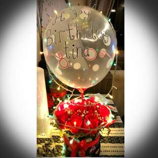 Flower gift box with wordings balloon