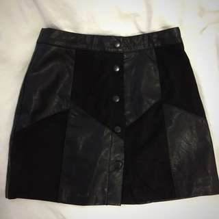 F21 Button Up Leather&Saude Skirt
